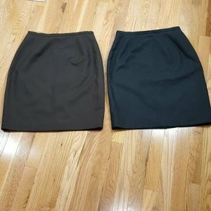 Lot -2 Womens Skirts Sz 8  Black Brown Wool Lined